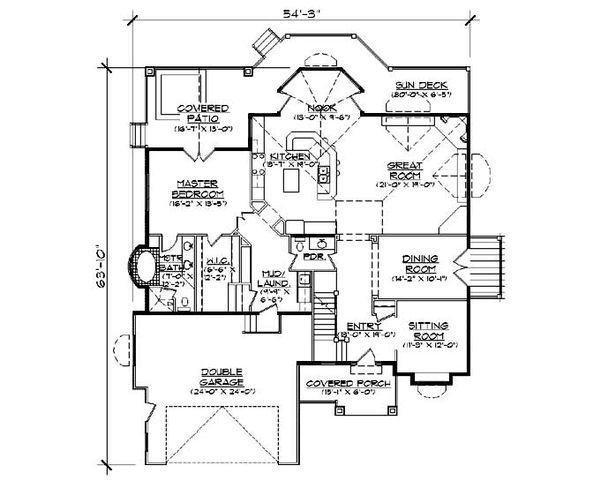 House Plan Design - European Floor Plan - Main Floor Plan #5-370