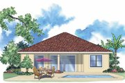 Mediterranean Style House Plan - 2 Beds 2 Baths 1608 Sq/Ft Plan #930-383 Exterior - Rear Elevation