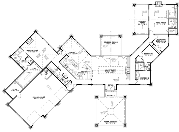 Contemporary Floor Plan - Main Floor Plan Plan #17-3390
