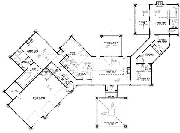 Dream House Plan - Contemporary Floor Plan - Main Floor Plan #17-3390