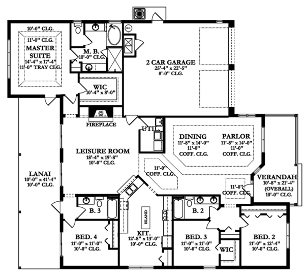 Ranch Floor Plan - Main Floor Plan Plan #1058-158