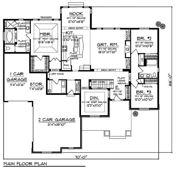 Craftsman Floor Plan - Main Floor Plan Plan #70-986