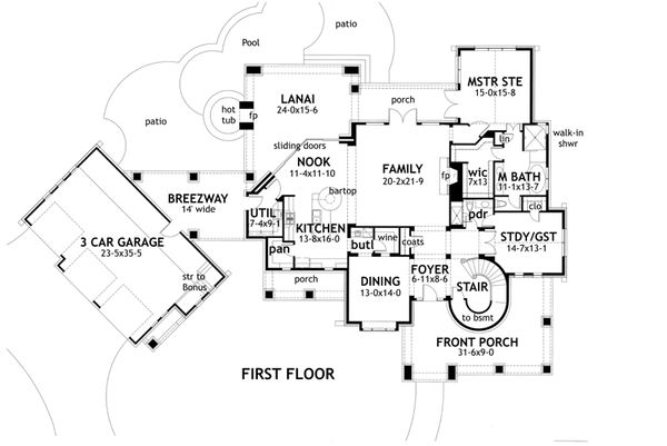 Craftsman Floor Plan - Main Floor Plan Plan #120-173