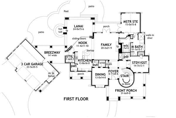Craftsman Floor Plan - Main Floor Plan Plan #120-173