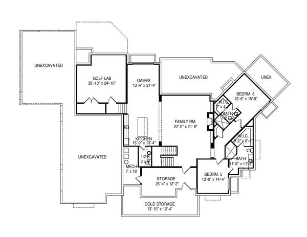 Craftsman Floor Plan - Lower Floor Plan Plan #920-96