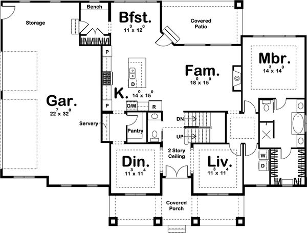 Beach Floor Plan - Main Floor Plan Plan #455-210