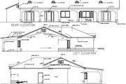 Adobe / Southwestern Style House Plan - 4 Beds 3 Baths 1984 Sq/Ft Plan #1-1396 Exterior - Rear Elevation
