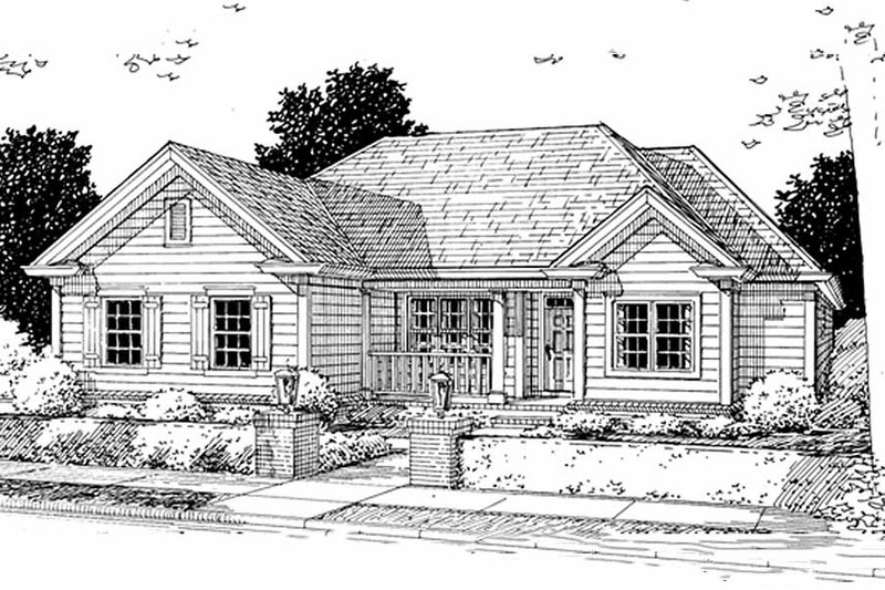 Traditional Style House Plan - 3 Beds 2 Baths 1344 Sq/Ft Plan #20-371 Exterior - Front Elevation