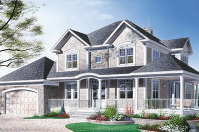 Country Style House Plan - 3 Beds 2.5 Baths 2292 Sq/Ft Plan #23-282 Exterior - Front Elevation