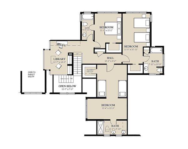 Craftsman Floor Plan - Upper Floor Plan #921-3