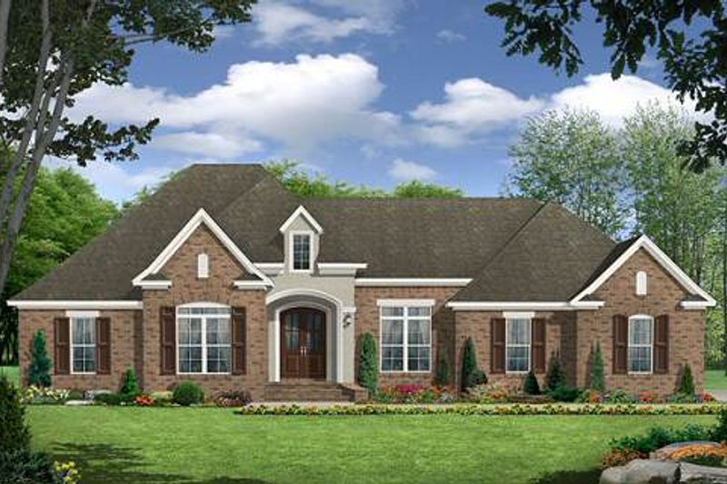 European Style House Plan - 3 Beds 2.5 Baths 2389 Sq/Ft Plan #21-243 Exterior - Front Elevation