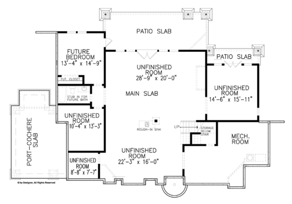 Craftsman Floor Plan - Lower Floor Plan Plan #54-371