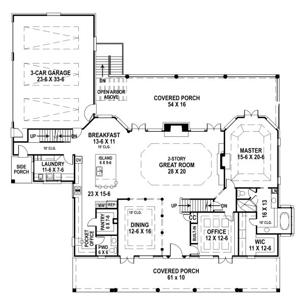 Dream House Plan - Country Floor Plan - Main Floor Plan #119-216