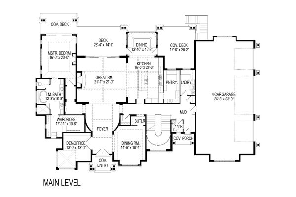 Craftsman Floor Plan - Main Floor Plan Plan #920-49