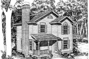 Country Style House Plan - 3 Beds 2.5 Baths 1304 Sq/Ft Plan #322-104 Exterior - Front Elevation
