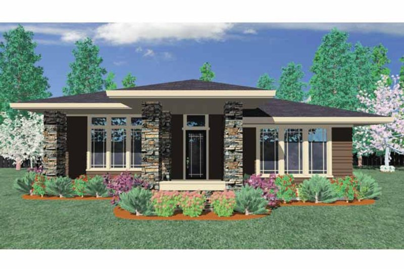 Prairie Exterior - Front Elevation Plan #509-412 - Houseplans.com