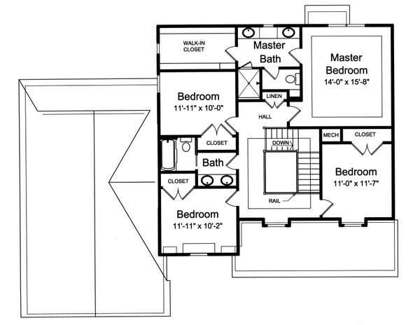 Traditional Floor Plan - Upper Floor Plan Plan #46-878