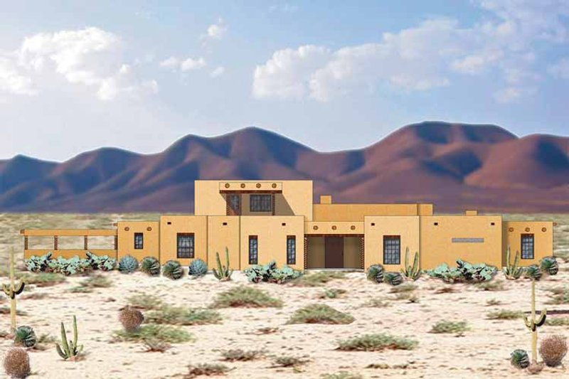 Adobe / Southwestern Exterior - Front Elevation Plan #84-649 - Houseplans.com