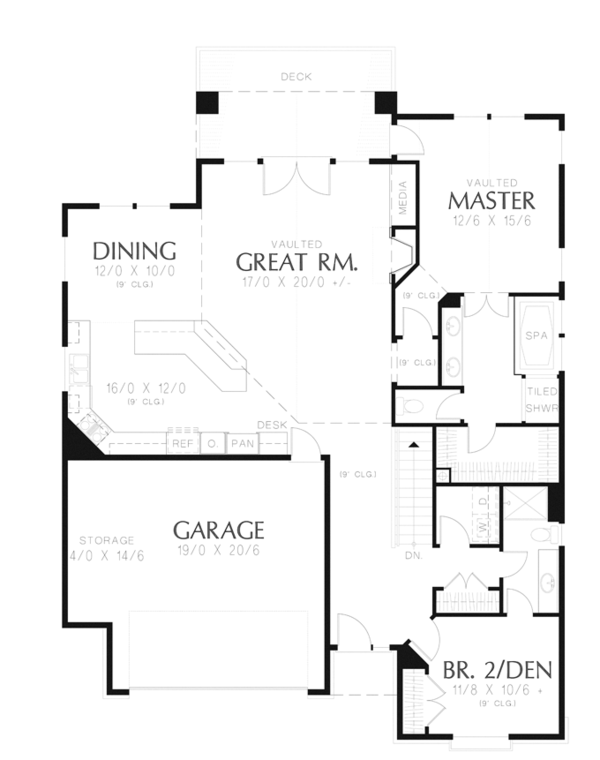 Craftsman Floor Plan - Main Floor Plan Plan #48-899