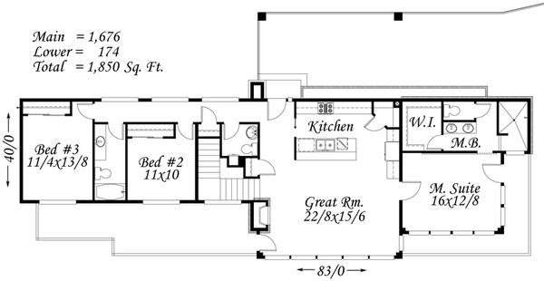 Modern Style House Plan - 3 Beds 2.5 Baths 1850 Sq/Ft Plan #509-17 Floor Plan - Main Floor Plan