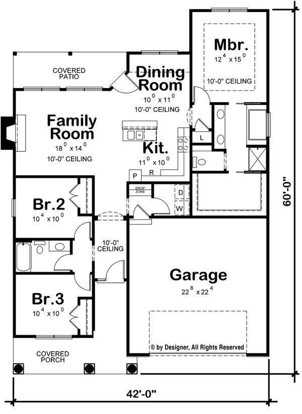 Craftsman Floor Plan - Main Floor Plan #20-2269