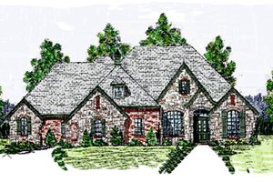 European Exterior - Front Elevation Plan #52-121