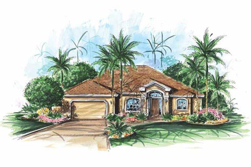 Dream House Plan - Mediterranean Exterior - Front Elevation Plan #1017-141