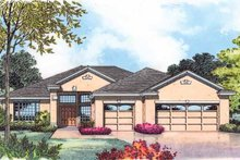 Architectural House Design - Mediterranean Exterior - Front Elevation Plan #1015-21