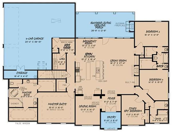 European Floor Plan - Main Floor Plan Plan #17-3412