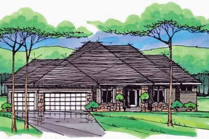 Architectural House Design - European Exterior - Front Elevation Plan #51-977