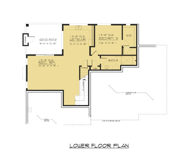 Contemporary Floor Plan - Lower Floor Plan Plan #1066-63