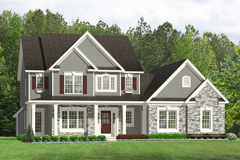 Architectural House Design - Colonial Exterior - Front Elevation Plan #1010-197