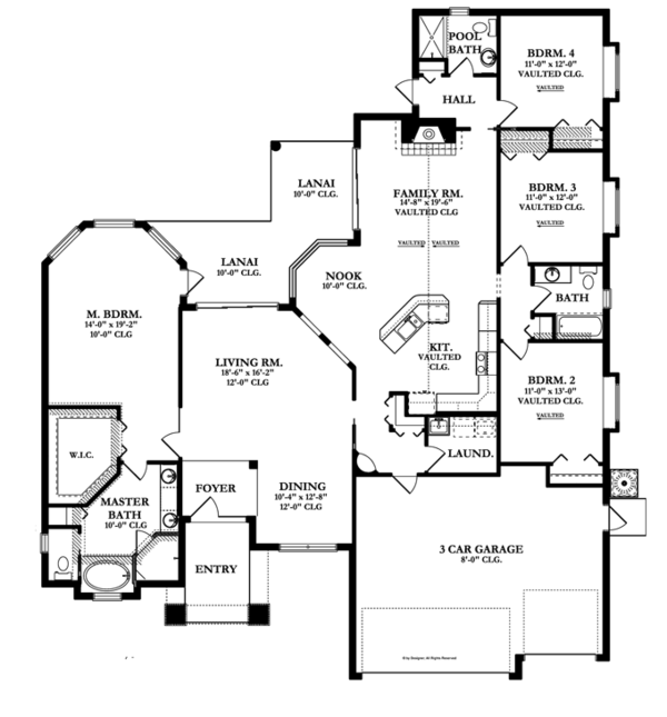 Craftsman Floor Plan - Main Floor Plan Plan #1058-47