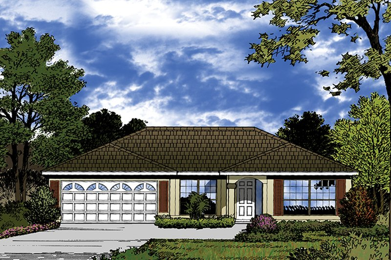 European Exterior - Front Elevation Plan #417-847