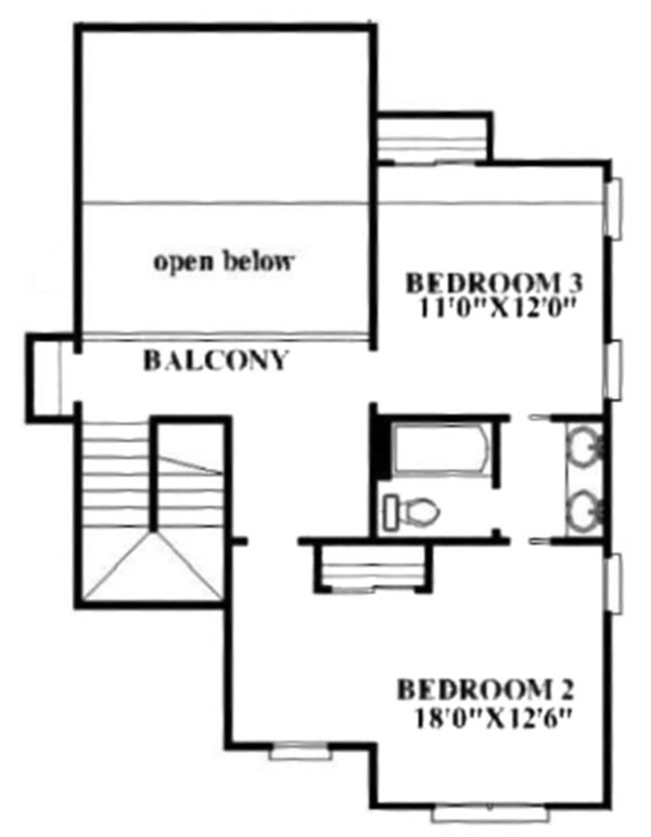 Craftsman Floor Plan - Upper Floor Plan Plan #991-32