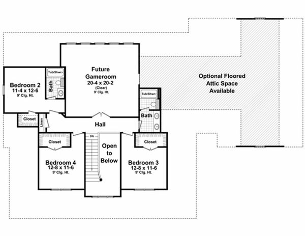 Country Floor Plan - Upper Floor Plan Plan #21-323