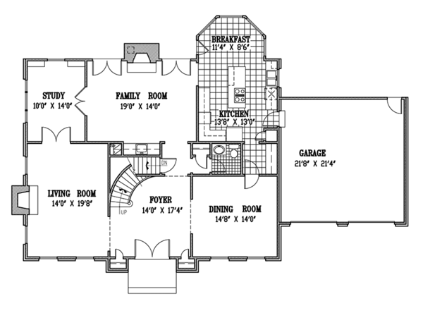 Country Floor Plan - Main Floor Plan Plan #953-55