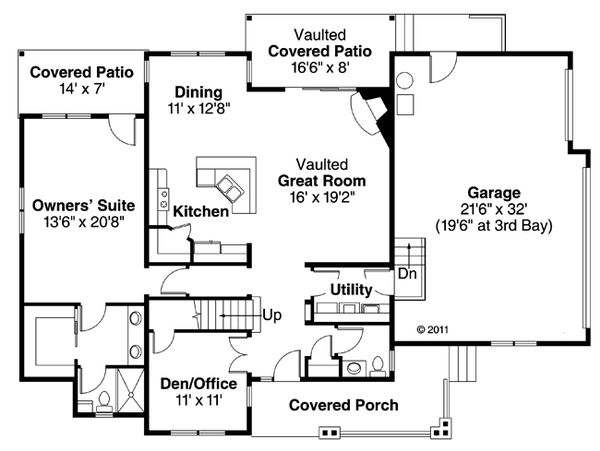 Country Floor Plan - Main Floor Plan Plan #124-882