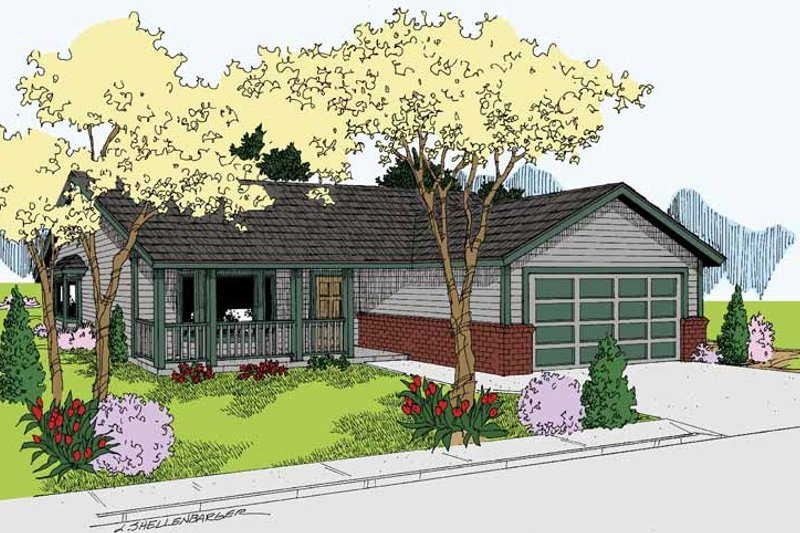 Ranch Exterior - Front Elevation Plan #60-1033