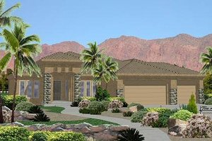 Adobe / Southwestern Exterior - Front Elevation Plan #24-247