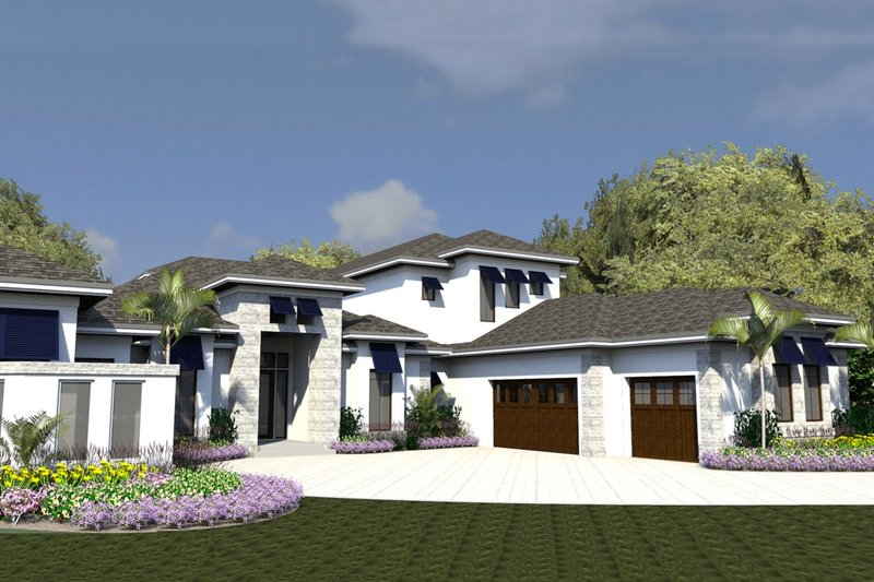 Contemporary Style House Plan - 4 Beds 4.5 Baths 6843 Sq/Ft Plan #548-23 Exterior - Front Elevation