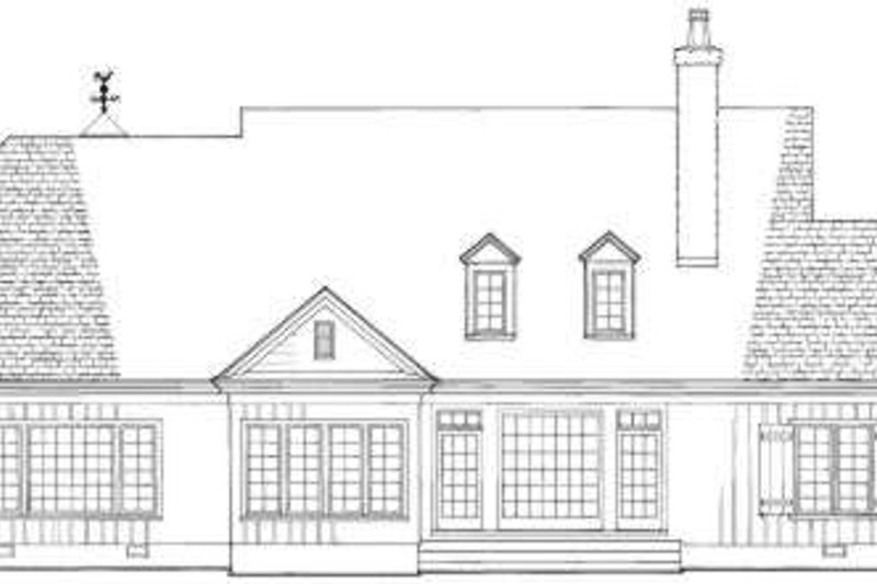 Southern Exterior - Rear Elevation Plan #137-202 - Houseplans.com