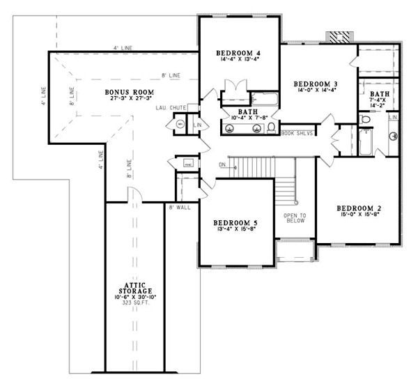 European Floor Plan - Upper Floor Plan Plan #17-2271