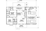 Country Style House Plan - 2 Beds 2.5 Baths 1500 Sq/Ft Plan #56-621 Floor Plan - Main Floor
