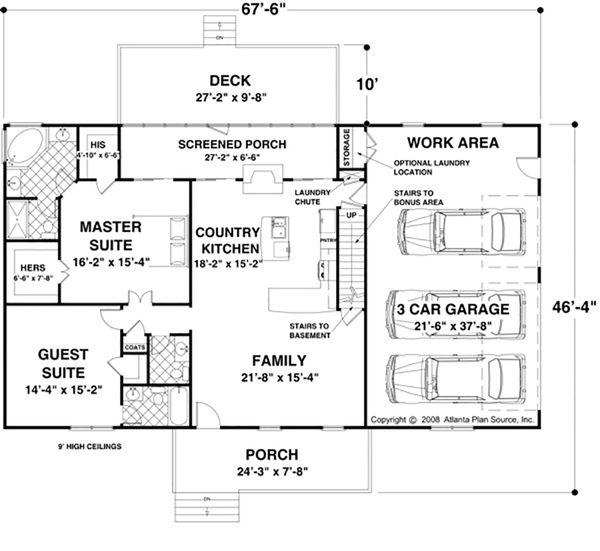 Country Floor Plan - Main Floor Plan #56-621