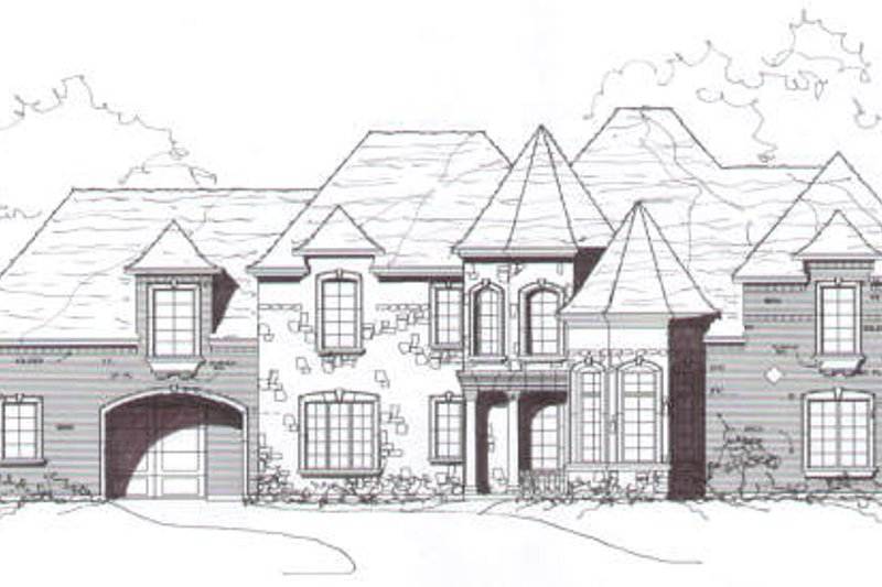 European Style House Plan - 5 Beds 4.5 Baths 5192 Sq/Ft Plan #141-244 Exterior - Front Elevation