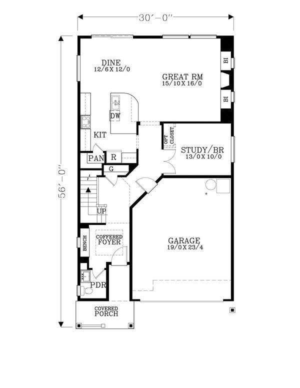 Craftsman Floor Plan - Main Floor Plan #53-521