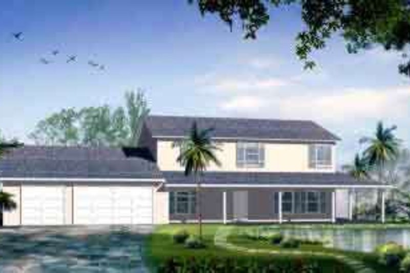 Country Style House Plan - 4 Beds 2.5 Baths 2608 Sq/Ft Plan #1-1181 Exterior - Front Elevation