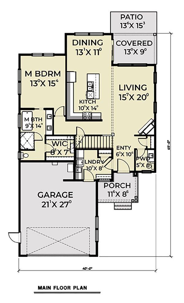 Contemporary Floor Plan - Main Floor Plan Plan #1070-30