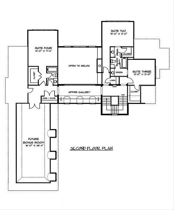 European Floor Plan - Upper Floor Plan Plan #413-144
